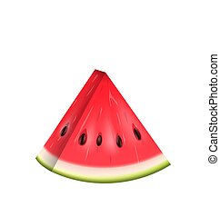 Realistic Slice of Watermelon, Water Melon Isolated on White Background