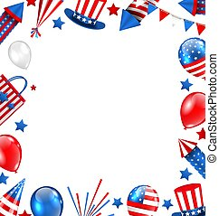 Colorful Border for American Holiday, Traditional Symbols, Objects, Icons