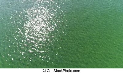 drone flying beautiful sea water surface - Aerial view, top...