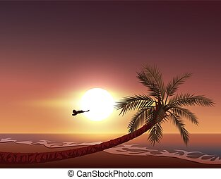 Sunset on tropical island. Sun sets in ocean