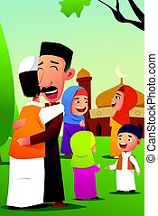 Muslims Celebrating Eid Al Fitr - A vector illustration of...