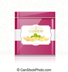 retro metallic box with cashews for your design