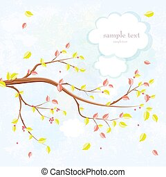 invitation card with graceful autumn branch of tree