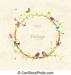 vintage cute floral wreath with pretty birds for your design