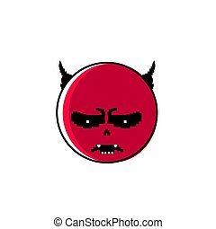 Angry Red Cartoon Face With Devil Horns Negative People...