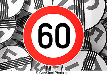 Reaching the 60th birthday illustrated with traffic signs -...