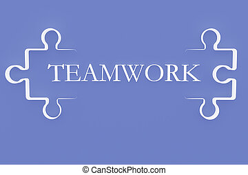 "Shape of Puzzle Pieces with Text ""Teamwork"""