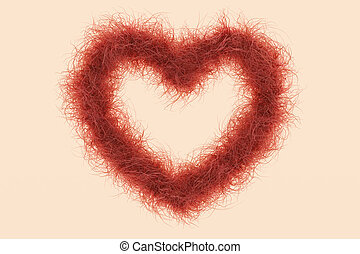 Heart Shape with red Hair as Symbol against the female Shave...