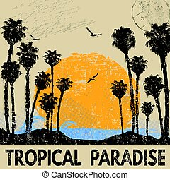 Abstract typographic summer design with palm trees