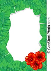 Tropical leaves and hibiscus frame