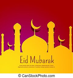 red background with yellow mosque shape for eid festival