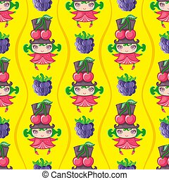 Seamless colorful pattern with cherry fruit girl. Vector background