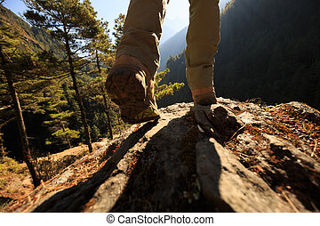 Successful hiker enjoy the sunrise at the himalaya mountain
