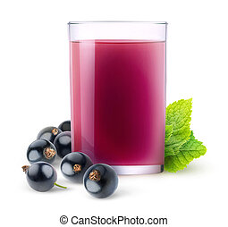 Isolated black currant juice - Isolated fruit drink. Glass...