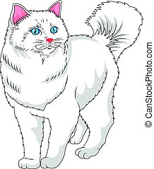 cute white cat cartoon - vector illustration of cute white...