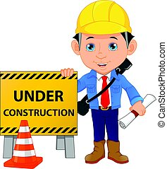 young architect cartoon with under construction sign