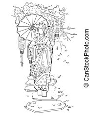 Graphic geisha with umbrella - Graphic asian girl in...