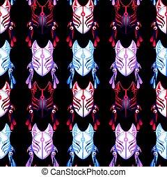 Japanese deamon fox pattern - Japanese deamon fox mask in...
