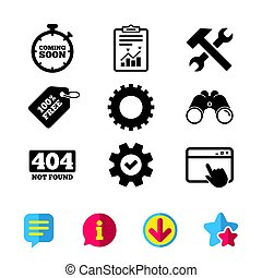 Coming soon icon. Repair service tool and gear. - Coming...