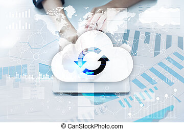 Cloud technology. Data storage. Networking and internet...