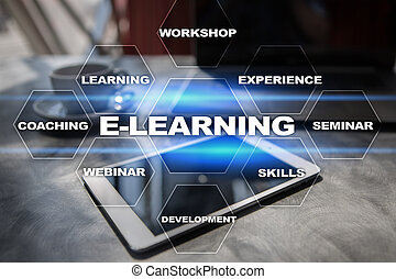 概念, スクリーン, 事実上, インターネット, e 勉強, 教育