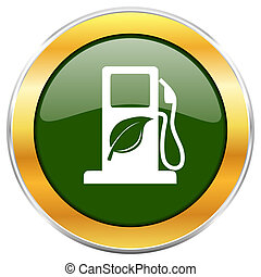 Biofuel green glossy round icon with golden chrome metallic...