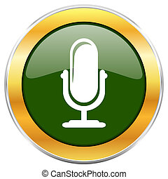 Microphone green glossy round icon with golden chrome...