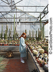Young girl standing in a glass house full of cacti - Full...