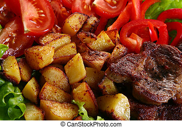 Meat plate with potatoes and souce - Meat plate with potatoe...
