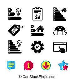 Energy efficiency icons. Lamp bulb and house. - Energy...