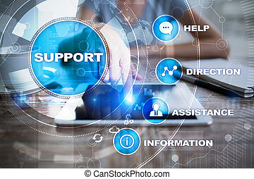 Technical support. Customer help. Business and technology...
