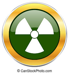 Radiation green glossy round icon with golden chrome...