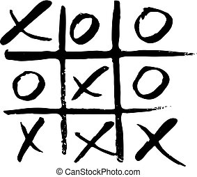 vector hand drawn noughts and crosses, tic-tac-toe...