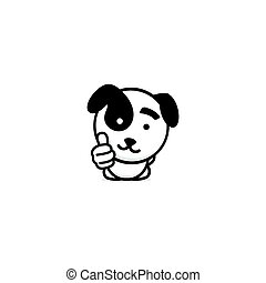 Cute puppy showing like, thumb of hand up, high esteem and...