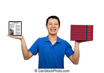 Happy young holding books and E-books