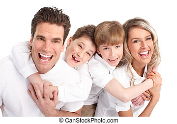 Happy family Father, mother and children Over white...