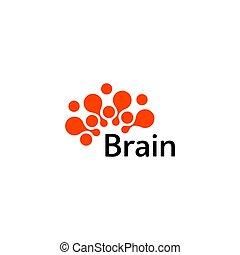 Brain Logo silhouette design vector template. Think idea...