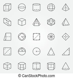 Geometry and trigonometry icons set. Vector collection of...