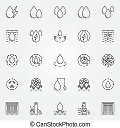 Hydropower icons set. Vector water power and energy concept...