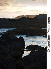 Dusk lighthouse and rocks - Dusk at the lighthouse in Tofino...