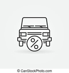 Car leasing icon - vector car with percent symbol in thin...