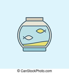 Colorful fish bowl with fish icon or design element on blue...
