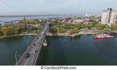 Aerial footage of traffic at bridge