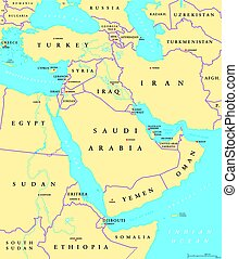 Middle East political map with capitals and national...