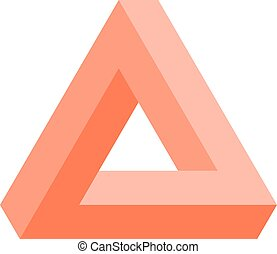 Penrose triangle icon in pink. Geometric 3D object optical illusion. Vector illustration