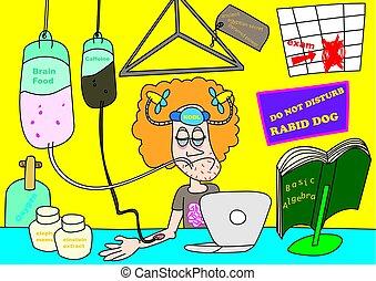exam cram funny cartoon vector illustration