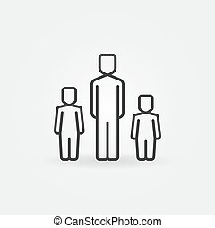 Father with two children icon. Vector family symbol or...