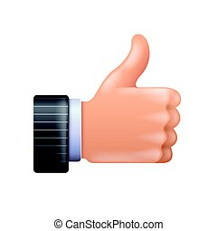 3d thumbs up icon isolated on white vector illustration