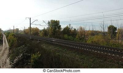 Aerial footage of railway