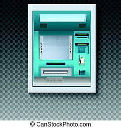 Bank Cash Machine. ATM - Automated teller machine with blank screen and carefully drawn details on transparent backdrop. Template for flyers, cover, presentation or poster